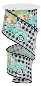 2.5 x 10 yd Truck/Bunny/Carrot Black/White Gingham Check