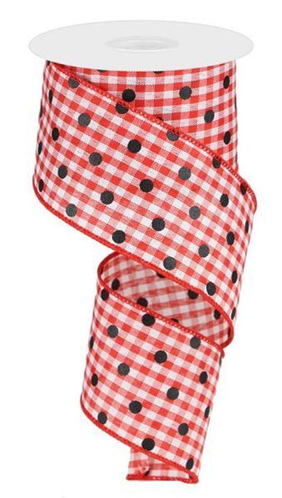 2.5 x 10 yd Red Gingham Check w/ black polka dot
