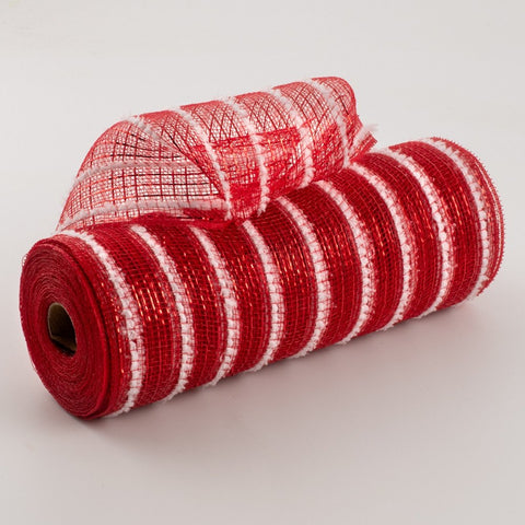 10.5 x 10 yd Snowdrift Red/ White Mesh