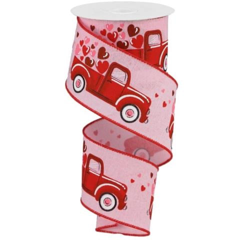 2.5 x 10 yd Truck w/ Hearts Pink/Red/Pink Royal