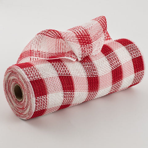 "10.5"" x 10 yds Faux Jute Check Mesh Red/White"