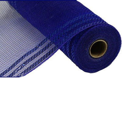 "10.5""x10 yd Navy/Royal Blue Metallic Border Stripe Mesh"