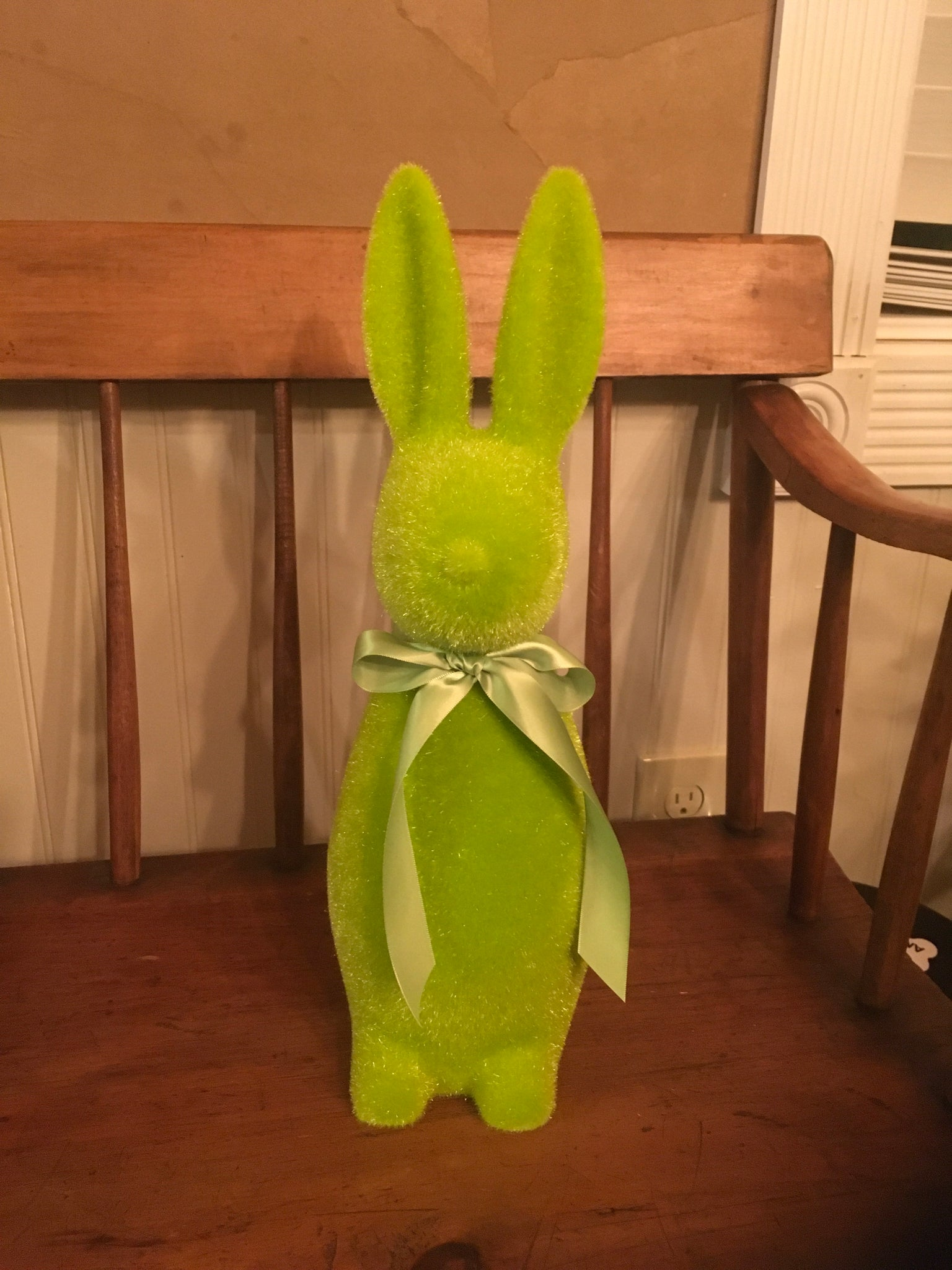 Lime green flocked bunny