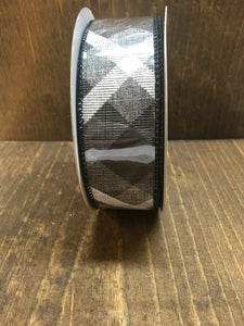 Black/White Diagonal Plaid Ribbon