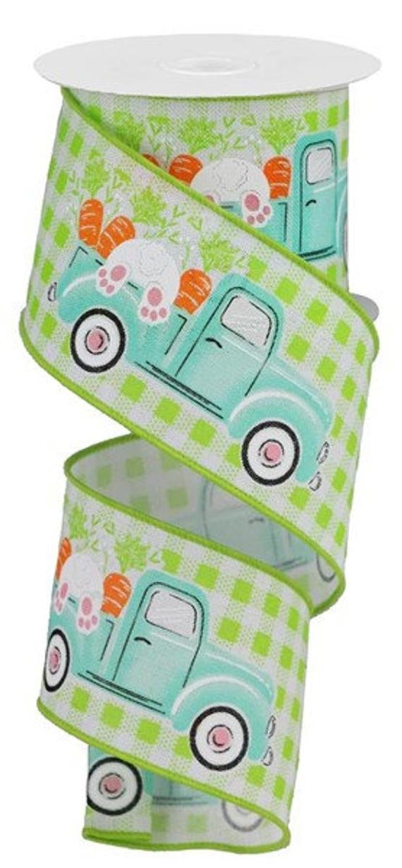2.5 x 10 yd Truck w/ Bunny/Carrots on Lime Gingham Check