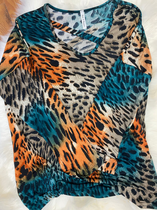 Animal Print Criss Cross Blouse