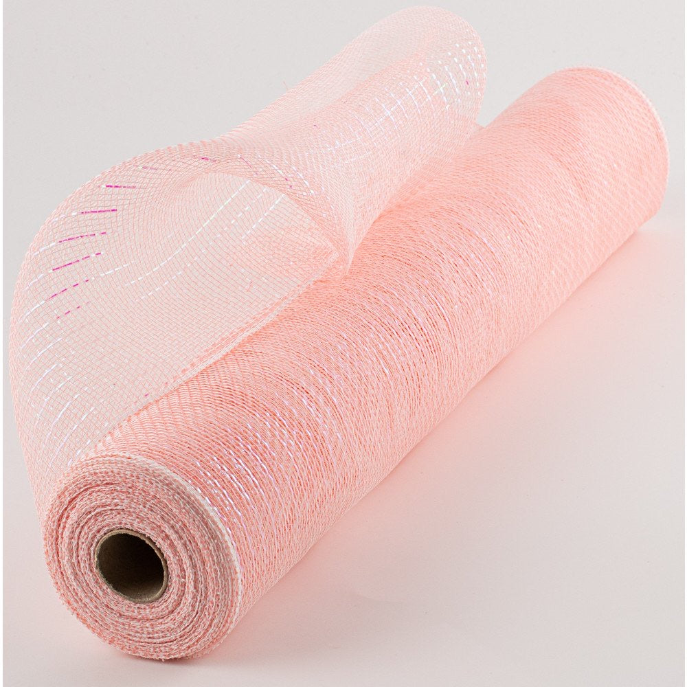21 x10 yds Iridescent Pastel Coral/White Foil Mesh