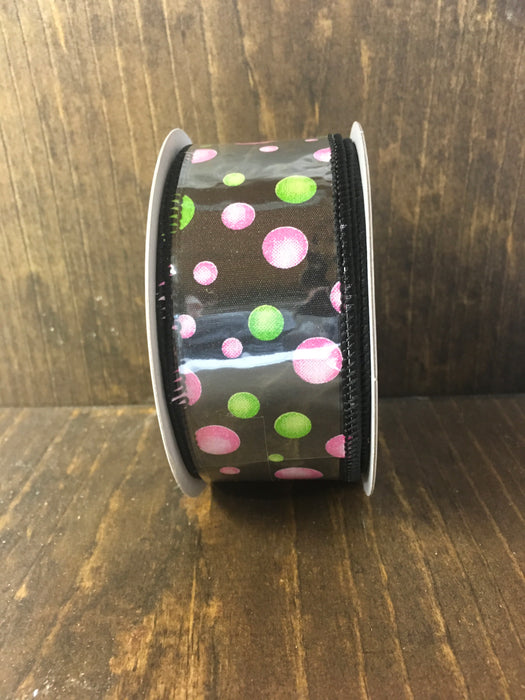 Black Pink Green Bubble Ribbon