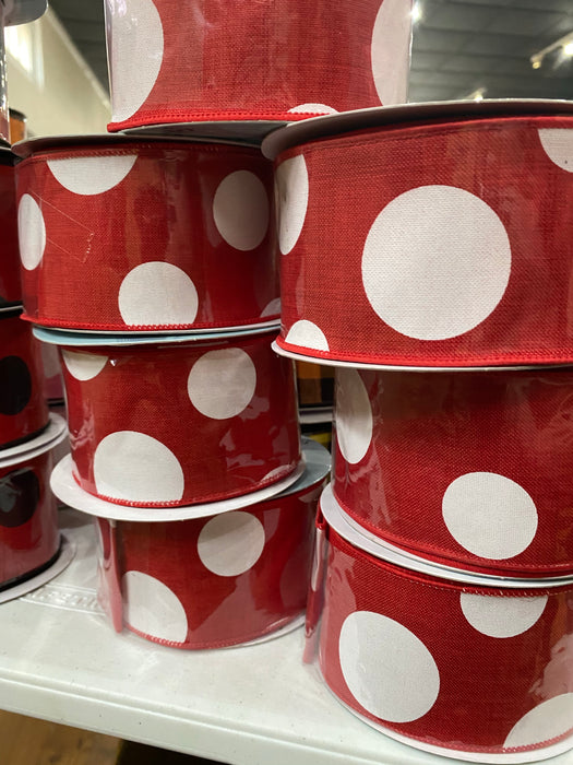 "Red/White 2.5"" x 10 yd Polka Dot"