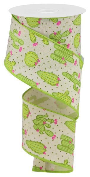 "4"" x10 yd White/Lime Green Cactus On Royal"