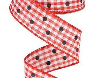 1.5 x 10 yd Red with Black Polka dot Gingham check