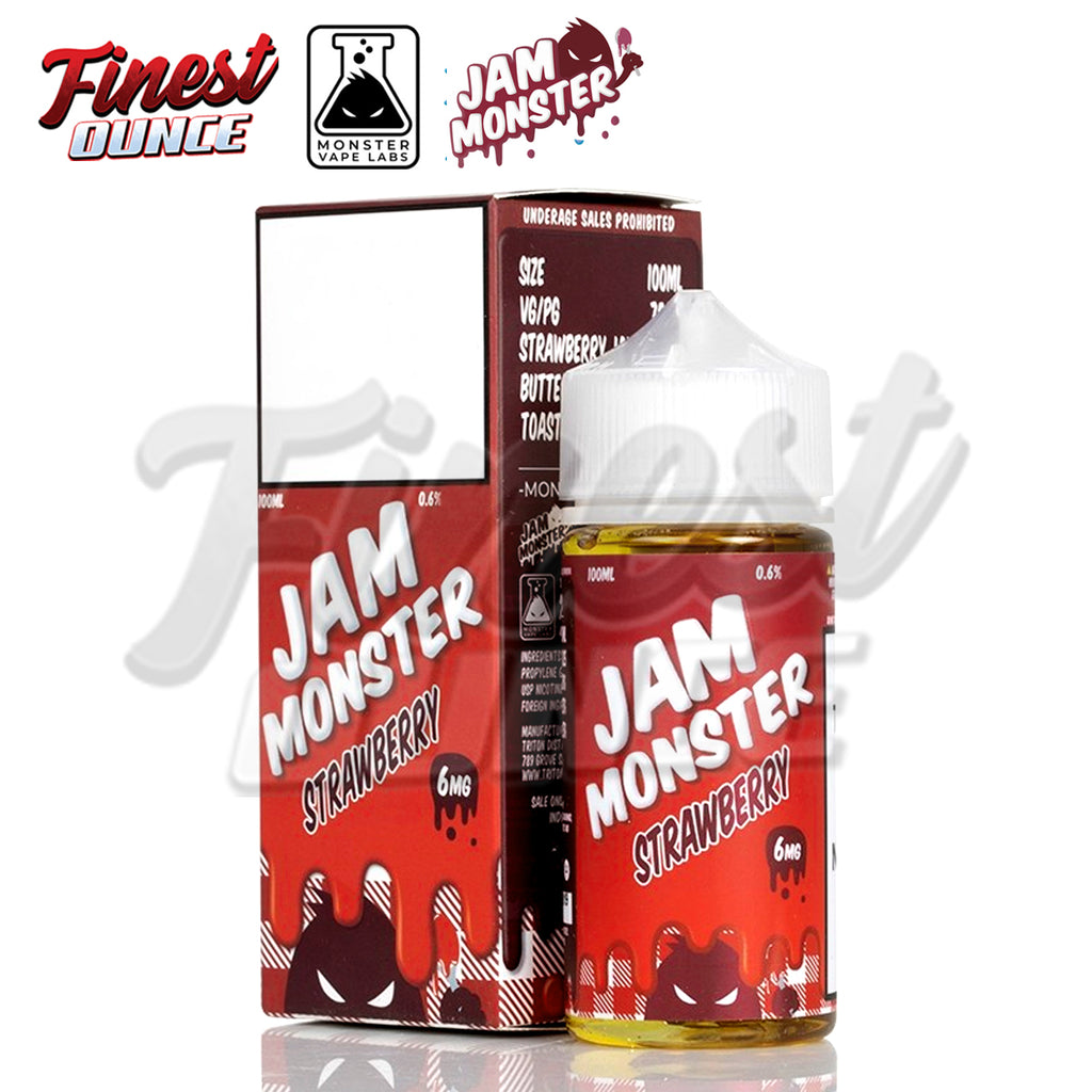 Jam Monster - Strawberry (FREEBASE) 100mL - Finest Ounce Vape Store