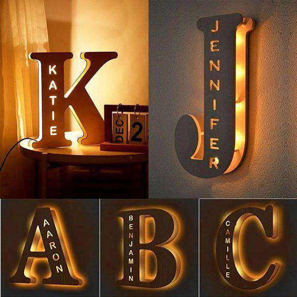 Custom Wooden Engraved Name Wall Light