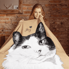 Load image into Gallery viewer, Custom Pet Portrait Blanket