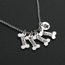 Load image into Gallery viewer, PERSONALIZED DOG BONE PENDANT NECKLACE 1-10 BONES