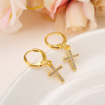 Mini Pavé Cross Dangle Earrings - Edona