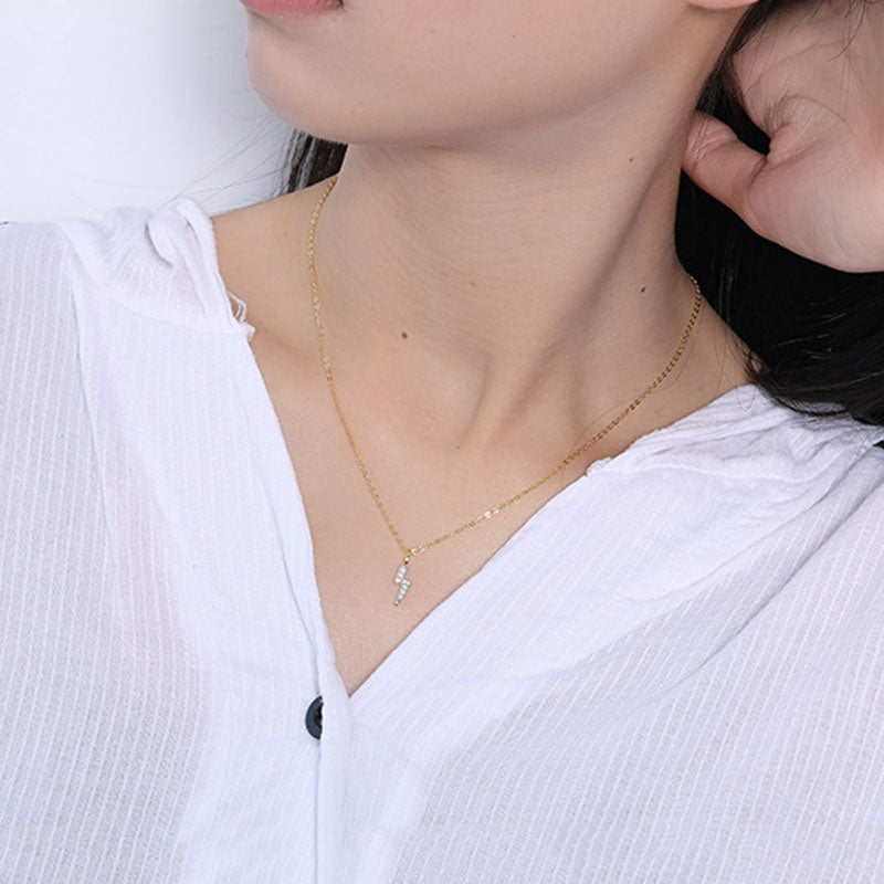 925 Sterling Silver | Minimalist Lightning Bolt Necklace