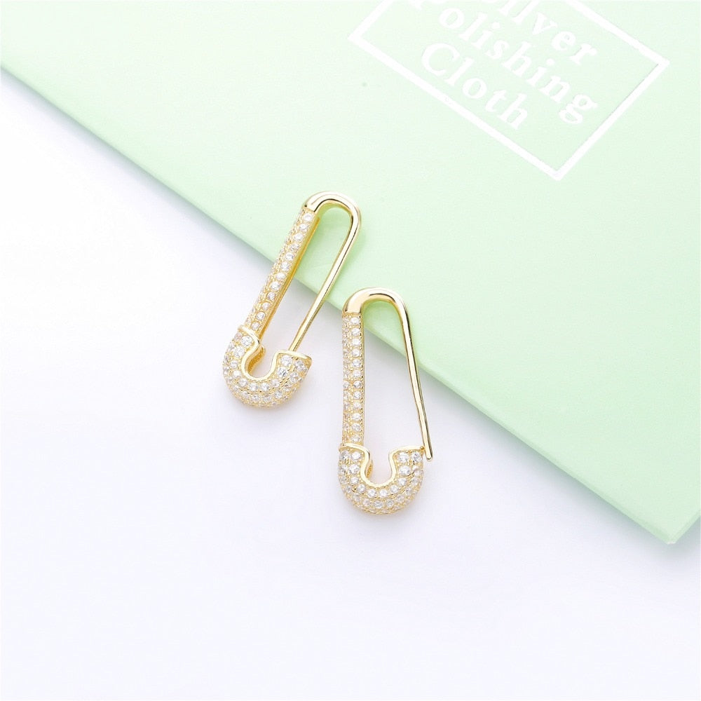 Safety Pin Pavé Earrings