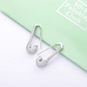 Safety Pin Pavé Earrings - Edona