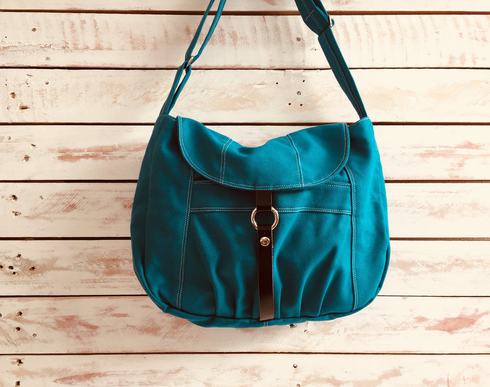 TEAL Messenger bag with zipper , big pocket Women diaper bag,Travel cross body bag, Gift For her - no.103 CLAIRE