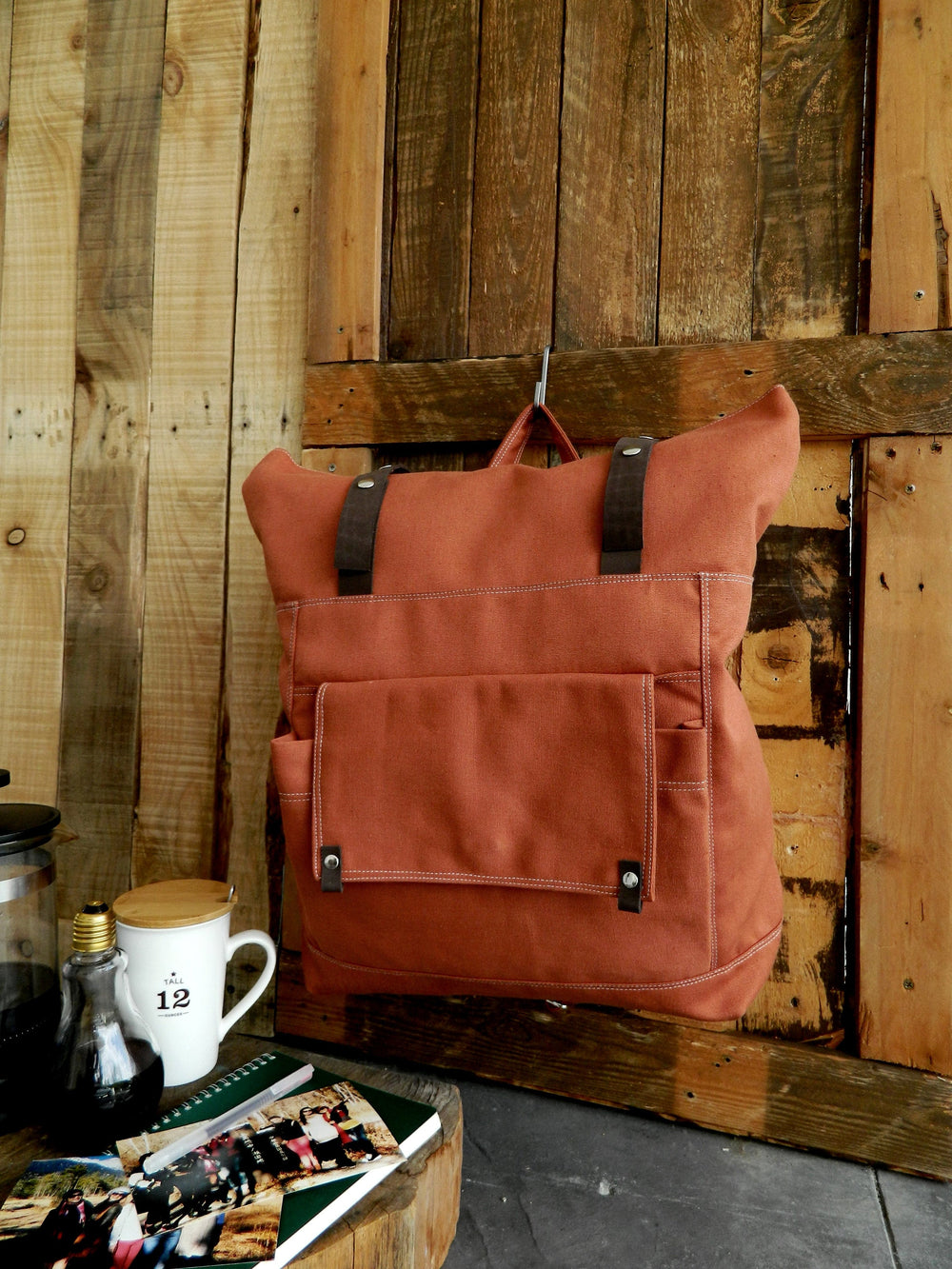 Unisex roll top Salmon laptop backpack, Leather strap canvas Satchel college bag , Many pockets ravel diaper backpack - no.105 ALLISON