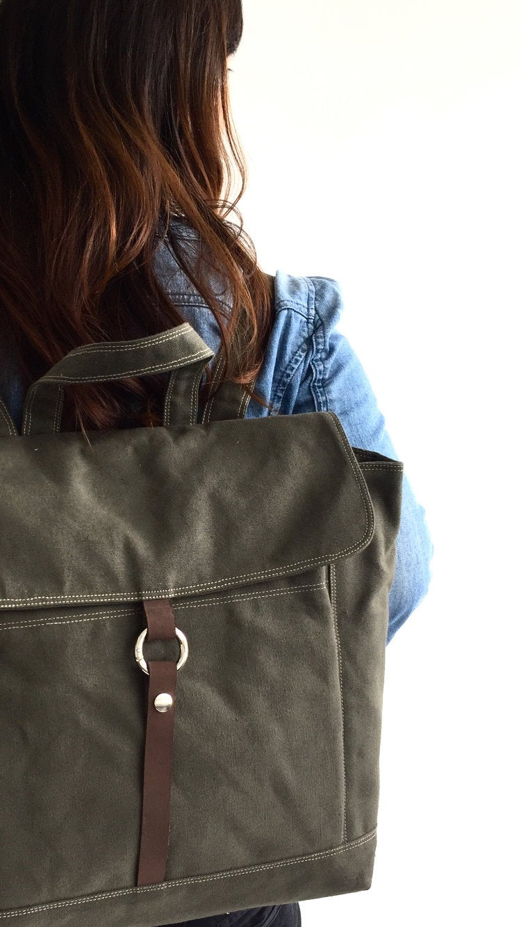 Water proof waxed Canvas School Backpack 13