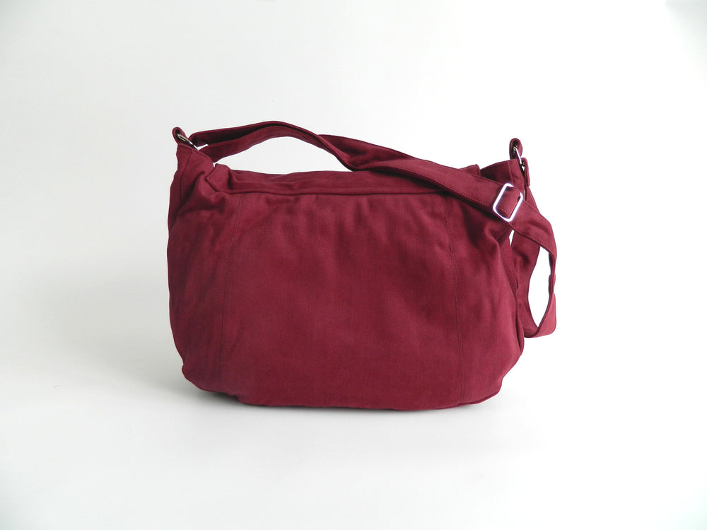 Rose Red travel messenger bag , Vegan canvas diaper bag ,shoulder bags for women, Back to school Cross body bag, Laptop bag - no.12 KYLIE