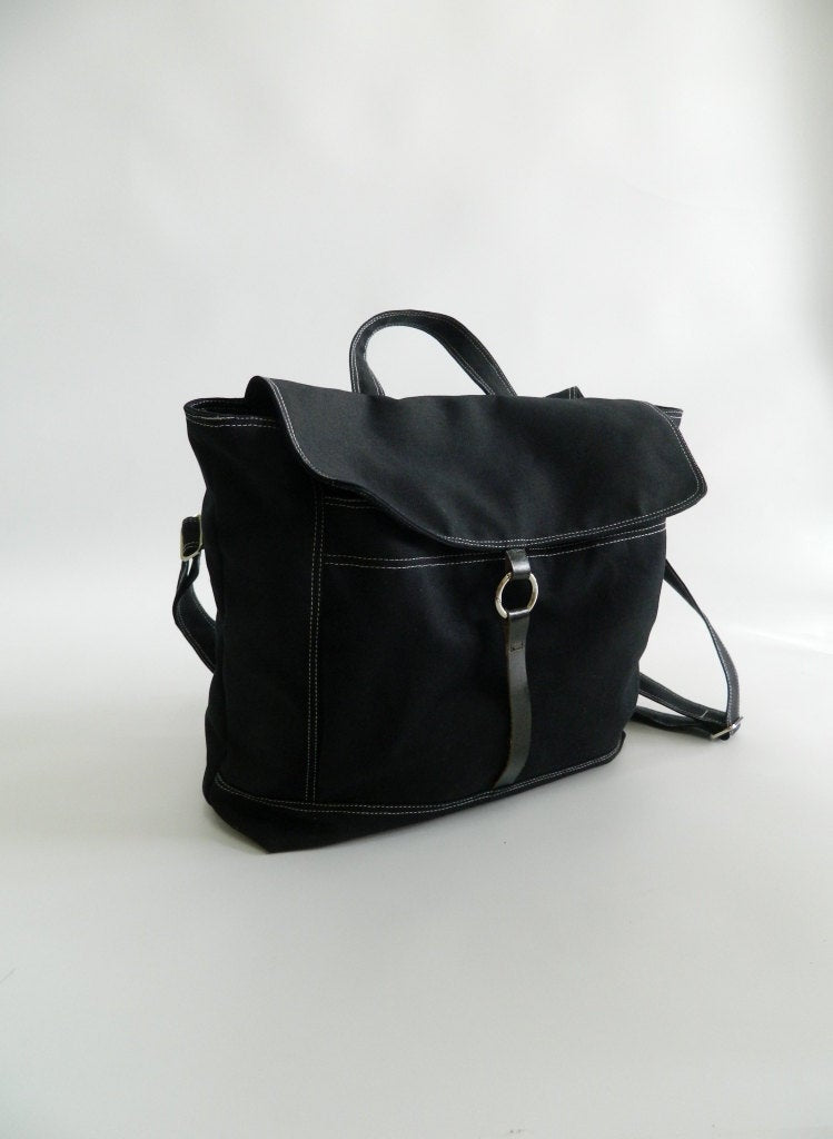BLACK carry on backpack in canvas, School 13