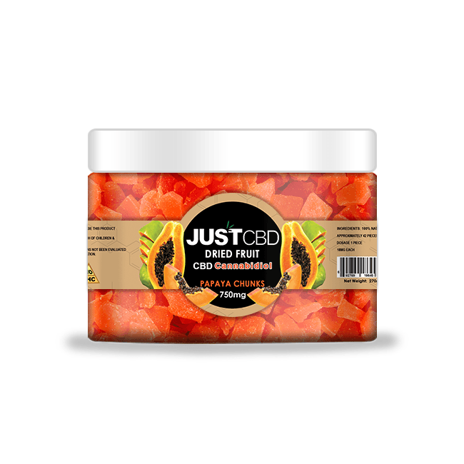 Just CBD Dried Fruit CBD Cannabidiol Papaya Chunks