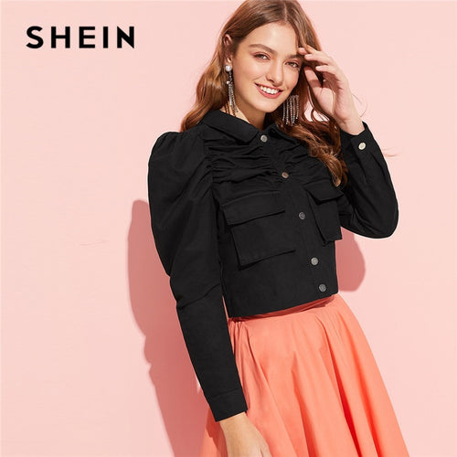 83c175a7a0 SHEIN Black Classy Button Up Flap Pocket Puff Sleeve Ruched Women Jacket  Spring Cotton Solid Single