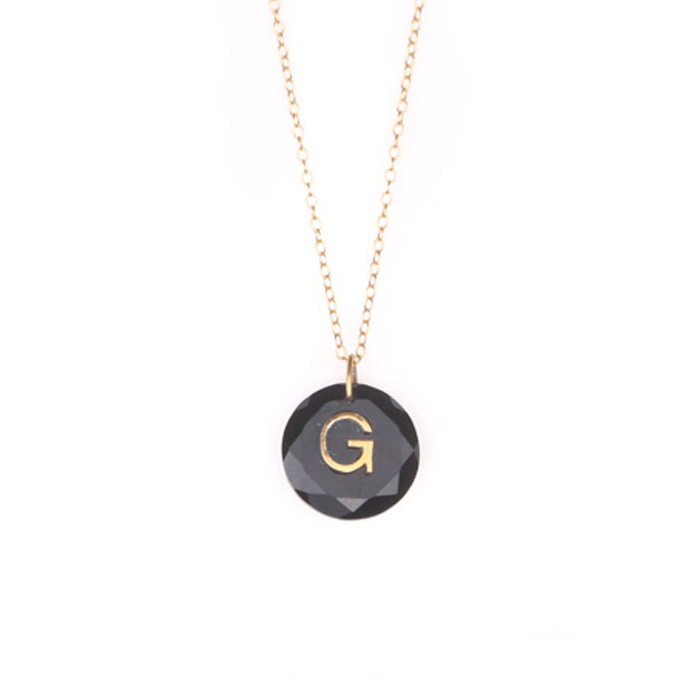 Like Letter Necklace Black Onyx - Charmed Circle