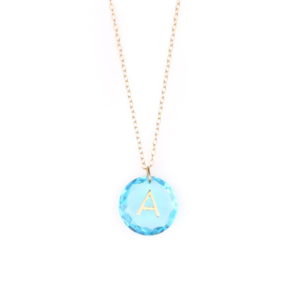 Like Letter Necklace Blue Topaz