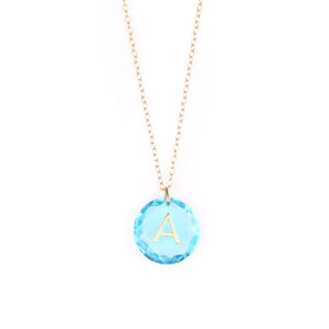 Load image into Gallery viewer, Like Letter Necklace Blue Topaz - Charmed Circle