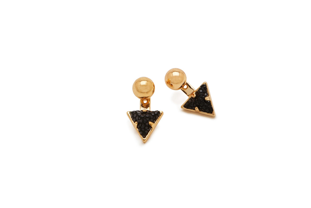 Charmed Circle Stud with Pyramid Jacket Earring