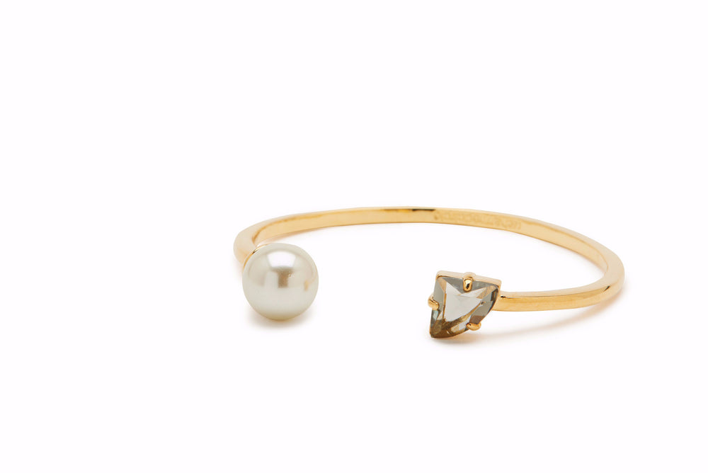 Pearl and Stone Bangle - Charmed Circle