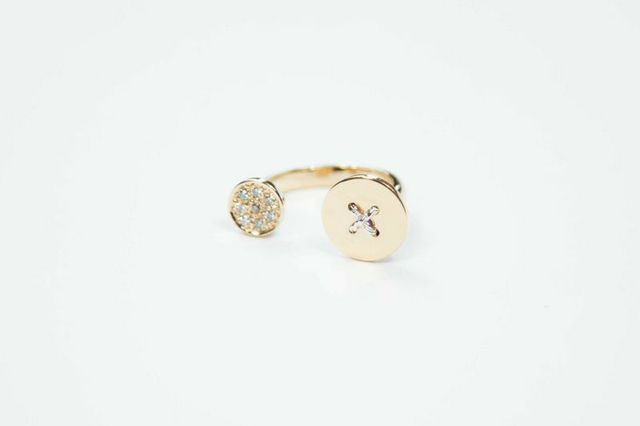 Flat Button Ring with Diamonds