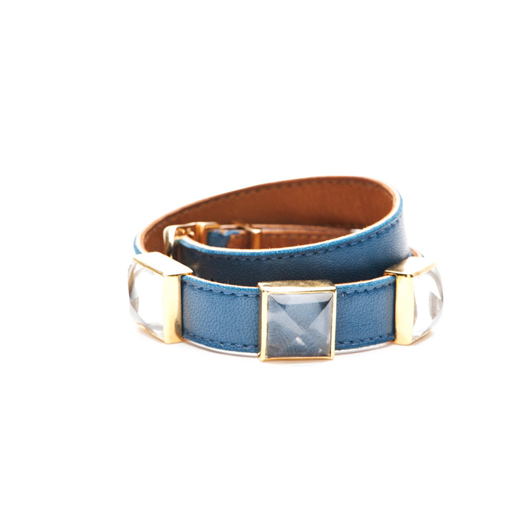Double Wrap Leather Bracelet - Gold