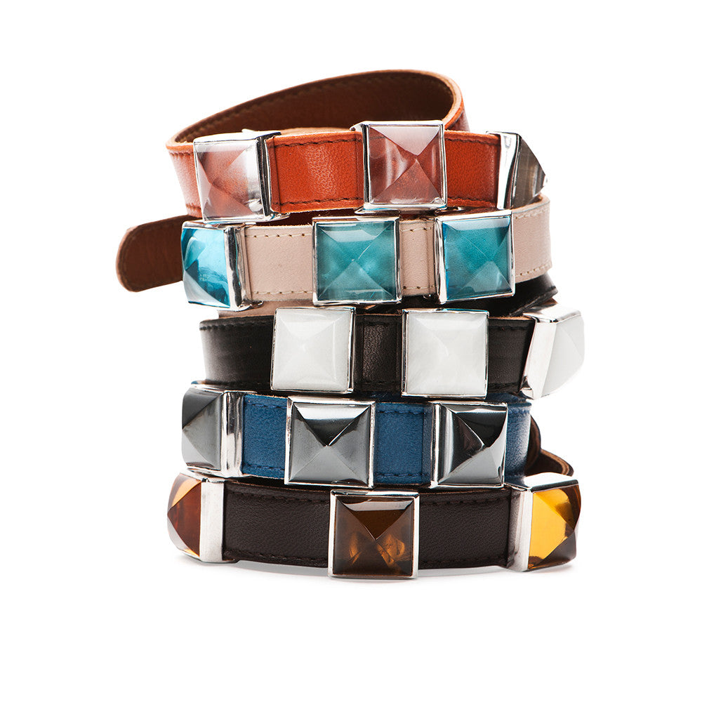 Double Wrap Leather Bracelet - Silver