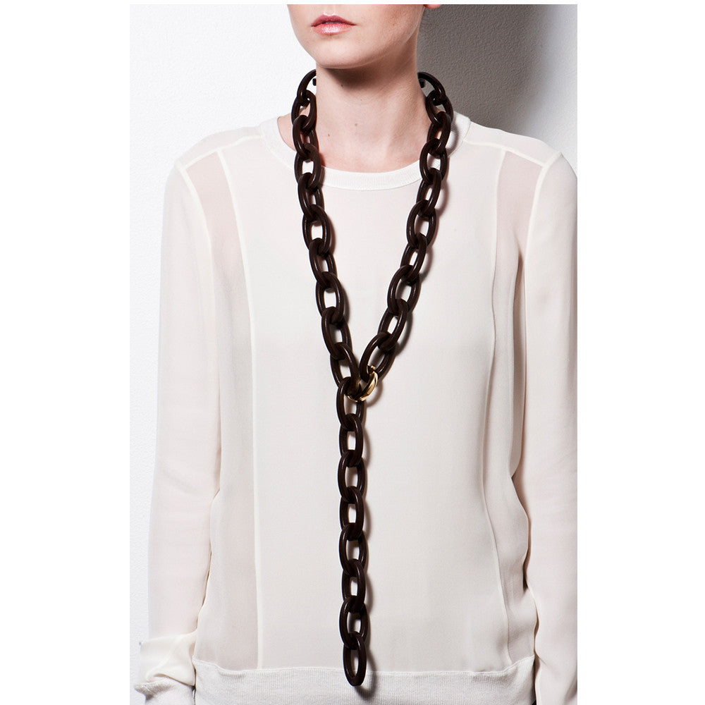 Flat Link Necklace - Leather