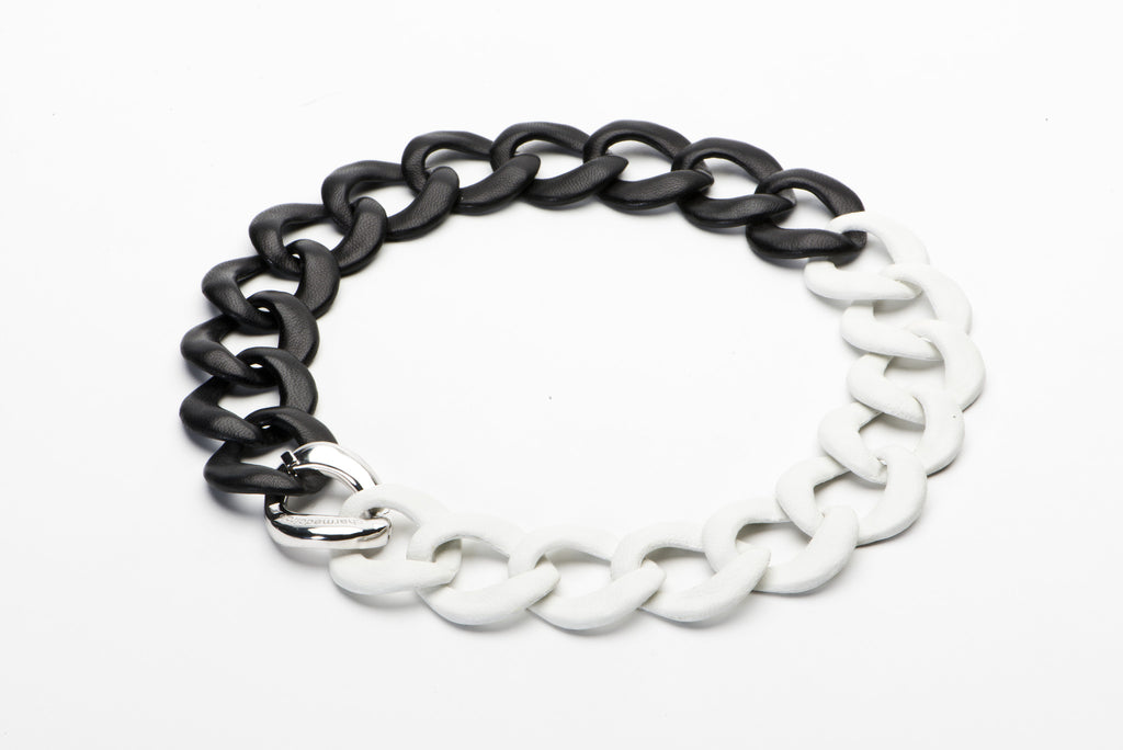 Black & White Leather Curb Link Collar