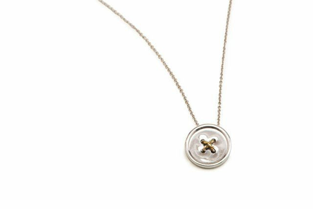 Beveled Gold Button Pendant Necklace