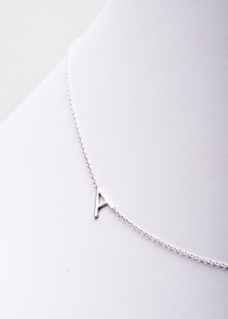 Sideways Initial Necklace - Charmed Circle