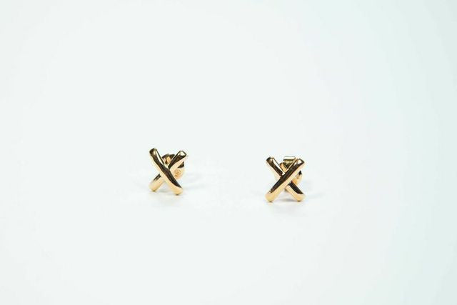 Cross Stitch Gold Earrings