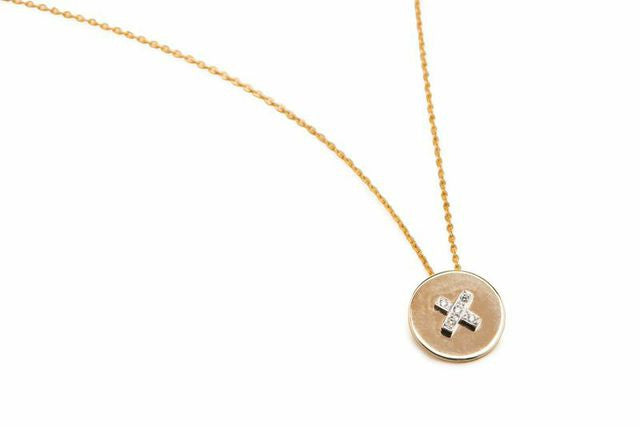 Flat Button Pendant with Diamond Thread - Charmed Circle