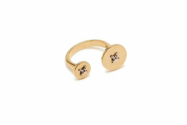 Flat Double Button Ring