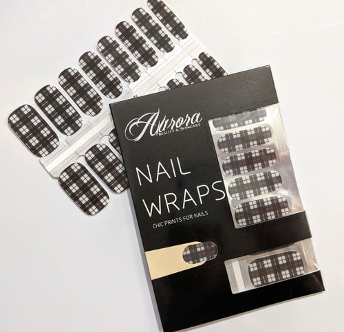 Black and White Plaid Nail Wraps