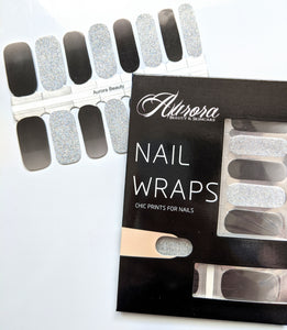 Grey and Silver Glitter Nail Wraps