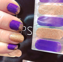 Load image into Gallery viewer, Purple and Gold Nail Wraps