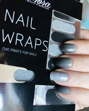 Load image into Gallery viewer, Grey and Silver Glitter Nail Wraps