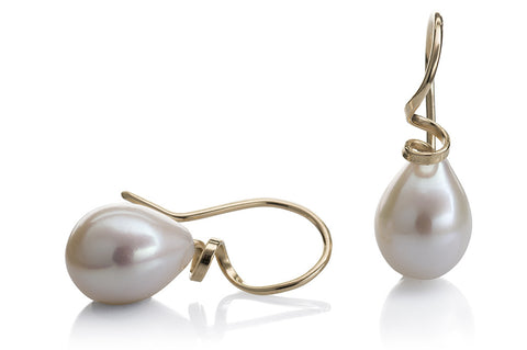 Spirals Earrings Gold Freshwater Pearl